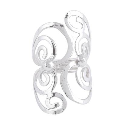 Spiral Motif Taxco Sterling Silver Cocktail Ring from Mexico