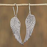 Sterling silver dangle earrings, 'Untamed' - Taxco Sterling Silver Wing Dangle Earrings from Mexico