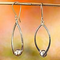 Sterling silver dangle earrings, 'Modern Perfection' - Modern Taxco Sterling Silver Dangle Earrings from Mexico