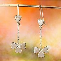 Sterling silver dangle earrings, 'Saint Patrick's Love' - Taxco Sterling Silver Heart Dangle Earrings from Mexico
