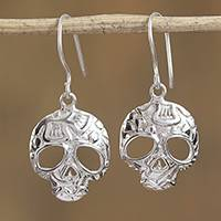 Sterling silver dangle earrings, 'Transmutation' - Taxco Skull Sterling Silver Dangle Earrings from Mexico