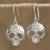 Sterling silver dangle earrings, 'Transmutation' - Taxco Skull Sterling Silver Dangle Earrings from Mexico thumbail