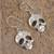 Sterling silver dangle earrings, 'Transmutation' - Taxco Skull Sterling Silver Dangle Earrings from Mexico (image 2b) thumbail