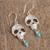 Turquoise and cultured pearl dangle earrings, 'Transmutation' - Taxco Skull Turquoise and Pearl Dangle Earrings from Mexico (image 2b) thumbail