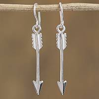 Sterling silver dangle earrings, 'Arrow's Flight' - Taxco Sterling Silver Arrow Dangle Earrings from Mexico