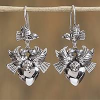 Sterling silver dangle earrings, 'Peace of Love' - Dove and Heart Motif Taxco Sterling Silver Dangle Earrings