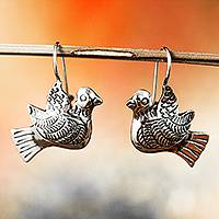 Sterling silver drop earrings, 'Peaceful Message' - Taxco Sterling Silver Dove Drop Earrings from Mexico