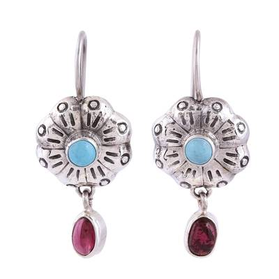 Floral Turquoise and Garnet Dangle Earrings from Mexico