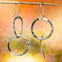 Sterling silver dangle earrings, 'Interlinked' - Circular Taxco Sterling Silver Dangle Earrings from Mexico
