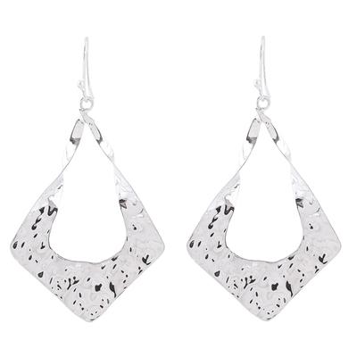 Sterling silver dangle earrings, 'Modern Kites' - Kite-Shaped Taxco Sterling Silver Dangle Earrings