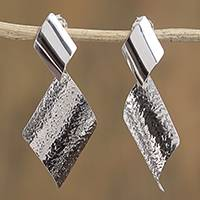 Sterling silver dangle earrings, 'Touch of Symmetry' - Modern Curvy Sterling Silver Dangle Earrings from Mexico