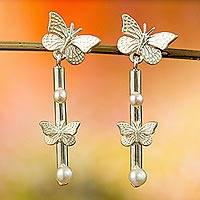 Cultured pearl dangle earrings, 'Sweet Spring' - Cultured Pearl Butterfly Dangle Earrings from Mexico