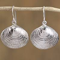 Sterling silver dangle earrings, 'Mediterranean Shells' - Taxco Sterling Silver Seashell Dangle Earrings from Mexico