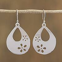Sterling silver dangle earrings, 'Path of Water' - Floral Taxco Sterling Silver Dangle Earrings from Mexico