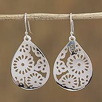 Sterling silver dangle earrings, 'Path of the Sun' - Taxco Floral Sterling Silver Dangle Earrings from Mexico