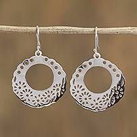 Sterling silver dangle earrings, 'Floral Portal' - Floral Sterling Silver Dangle Earrings from Mexico