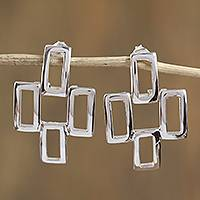 Sterling silver drop earrings, 'Cross of Dublin' - Rectangle Motif Sterling Silver Drop Earrings from Mexico
