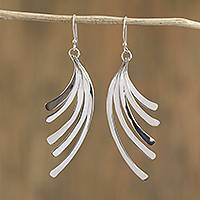 Sterling silver dangle earrings, 'Illusory Cascade' - Artisan Crafted Sterling Silver Dangle Earrings from Mexico