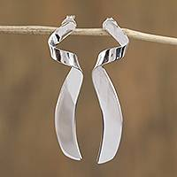 Sterling silver drop earrings, 'Appealing Gleam' - Taxco Sterling Silver Spire Drop Earrings from Mexico