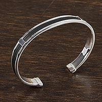 Featured review for Mens sterling silver cuff bracelet, Masculine Taxco