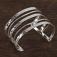 Sterling silver cuff bracelet, 'Taxco Elegance' - Openwork Sterling Silver Cuff Bracelet from Mexico