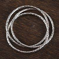 Sterling silver bangle bracelet, 'Wonderful Trio' - Taxco Sterling Silver Bangle Bracelet from Mexico