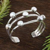 Cultured pearl cuff bracelet, 'Glowing Studs' - Taxco Cultured Pearl Cuff Bracelet from Mexico