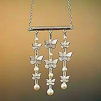 Cultured pearl pendant necklace, 'Sweet Spring' - Cultured Pearl Butterfly Necklace from Mexico