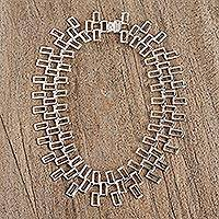 Sterling silver link necklace, 'Taxco Rectangles' - Modern Taxco Sterling Silver Link Necklace from Mexico