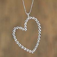Sterling silver pendant necklace, 'Sharing Love' - Taxco Sterling Silver Heart Pendant Necklace from Mexico