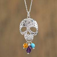 Multi-gemstone pendant necklace, 'Sweet Life' - Multi-Gemstone Skull Pendant Necklace from Mexico