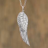 Sterling silver pendant necklace, 'Gabriel's Wing' - Taxco Sterling Silver Wing Pendant Necklace from Mexico