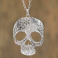 Sterling silver pendant necklace, 'Complex Skull'