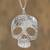 Sterling silver pendant necklace, 'Complex Skull' - Taxco Sterling Silver Skull Pendant Necklace from Mexico (image 2) thumbail