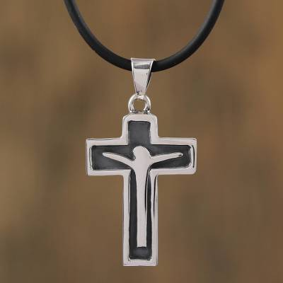 Men's sterling silver pendant necklace, 'Profound Crucifix' - Men's Sterling Silver Crucifix Pendant Necklace from Mexico