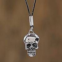 Sterling silver pendant necklace, 'Serious Skull' - Taxco Sterling Silver Skull Pendant Necklace from Mexico