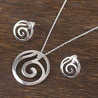 Sterling silver jewelry set, 'Spiral Elegance' - Taxco Sterling Silver Spiral Motif Jewelry Set from Mexico