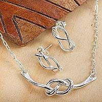 Sterling silver jewelry set, 'Taxco Knots' - Knot Motif Sterling Silver Jewelry Set from Mexico