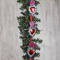 Tin ornament garland, 'Guiding Hearts' - Heart-Shaped Tin Ornament Garland from Mexico (Set of 10)