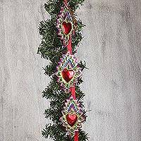 Tin ornament garland, 'Corona Hearts' - Heart Motif Tin Ornament Garland from Mexico (Set of 10)