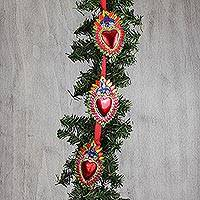 Tin ornament garland, 'Glorious Hearts' - Heart-Shaped Tin Ornament Garland from Mexico (Set of 10)
