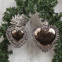 Tin wall sculptures, 'Elegant Hearts' (pair) - Heart-Shaped Tin Wall Sculptures from Mexico (Pair)