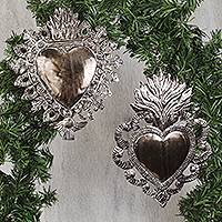 Tin wall sculptures, 'Faithful Hearts' (pair) - Ornate Heart Tin Wall Sculptures from Mexico (Pair)