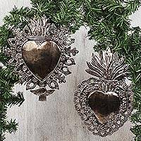 Tin wall sculptures, 'Religious Hearts' (pair) - Handmade Heart Tin Wall Sculptures from Mexico (Pair)