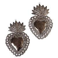 Tin wall sculptures, 'Fiery Floral Hearts' (pair) - Floral Heart Tin Wall Sculptures from Mexico (Pair)