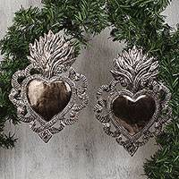 Embossed tin wall art, 'Hearts Afire' (pair) - Embossed Tin Hearts with Eternal Love Flame Wall Art (Pair)