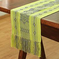 Cotton table runner, 'Chartreuse World' - Cotton Table Runner in Chartreuse and Smoke from Mexico