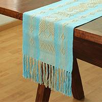 Cotton table runner, 'Cerulean World' - Cotton Table Runner in Cerulean and Ivory from Mexico