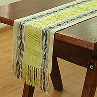 Cotton table runner, 'Pre-Hispanic Fauna' - Cotton Table Runner Handwoven in Mexico