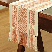 Cotton table runner, 'Salmon Geometry' - Cotton Table Runner in Salmon and Alabaster from Mexico